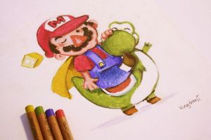 Mario and Yoshi by KingdomT