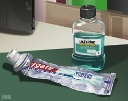 Still Life Study - Toothpaste + Mouthwash by freakyfir