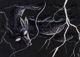 ACEO Storm Serpent by benwhoski