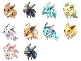 Eevees by NoneNess