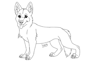 German Shepherd Lineart by Xx-Lacy-xX