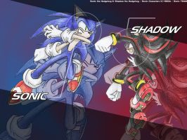 Sonic and Shadow : WP by goldhedgehog