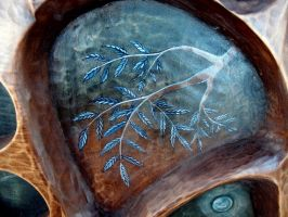 Bowl with Three Norns (detail 02) by Edita-Woodcarver