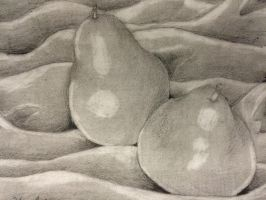 Black and White Pears on Fabric by TinyMythicals
