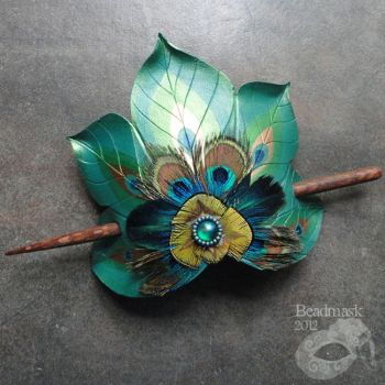 Peacock Feather Fan Hair Slide by Beadmask