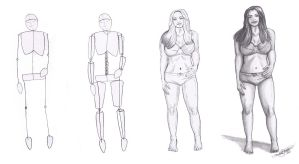 FOUR STEP FIGURE DRAWING PROCESS by SCT-GRAPHICS