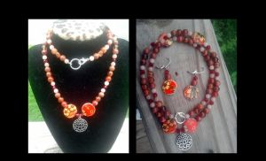 The Red Lotus necklace by WyckedDreamsDesigns