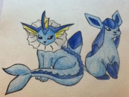Vaporeon and Glaceon :) by Racheii