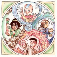 The Four Elements: Colored by earz-and-go