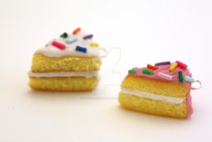 Cake Slice Charms by ClayConfectionary