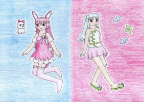 Pink and blue for Kawaii-paintbrush by NormaLeeInsane