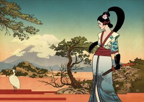Hokusai Geisha by burningflag