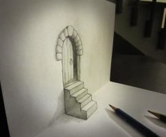 Door and stair anamorphosis by AlessandroDD