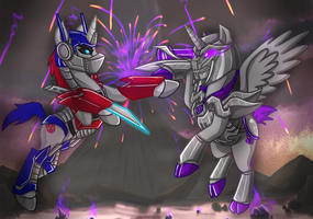 Megatron vs Optimus - Ponies by ALovette