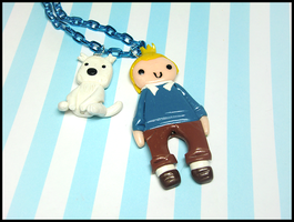 Tintin and Snowy Necklace by GrandmaThunderpants