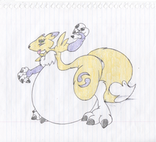 Renamon Stuffed Big Belly Drag. by Virus-20