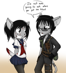 The Crazy schoolgirl and The Road Warrior by Sandwich-Anomaly