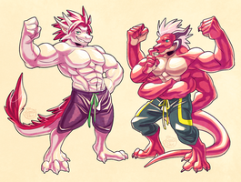Flexing Zai and Kumo by Orangetavi