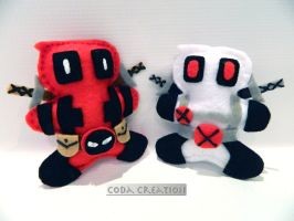 Deadpool Plushies-Original and X-Force by Sky-Coda