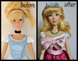 repainted ooak pink dress cinderella doll. by verirrtesIrrlicht