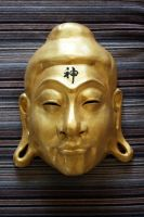 Buddha Mask in Gold with Kanji by Faust-and-Company