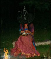 Deep In The Woods The Witch prepares A Spell by Estruda