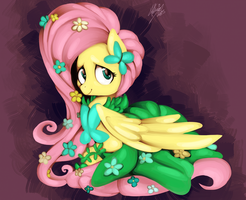 Flutteshy at the Gala by Shivall