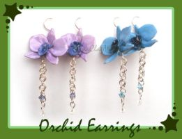 Orchid Earrings - Commission by HanaClayWorks