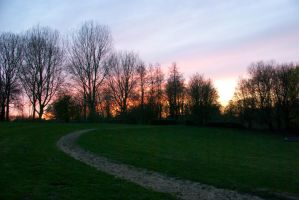 Bridle path towards the sunset by steppelandstock