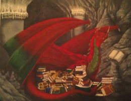 A Dragon and His Books commission by debbynaomi