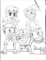 Doraemon and Friends-Sort of colouring page by doraemon-suneo