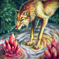 ~..+ Wolf thing on water with crystals +..~ by Sharkosaur