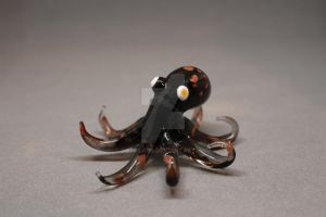 Black with red dots octopus by Datglass