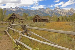 Teton Chapel Fenceline View by Kippenwolf