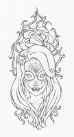 Deadly look tattoo lineart by reenie4790
