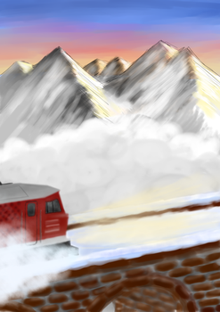 Train at winter sunrise by FlaK96