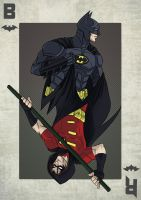 Batman / Robin Playing Card by DirkPower