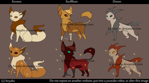 Fakemon- Eeveelutions by Anyahs