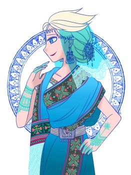 Elsa in Sari by Evelynism