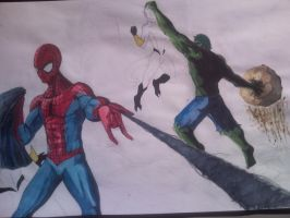 Spider-Man and Hulk in action by D-Architect