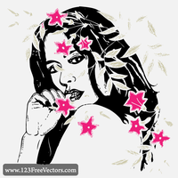 Women with Flowers Vector by 123freevectors