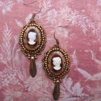 Beaded cameo earrings by Beadmask