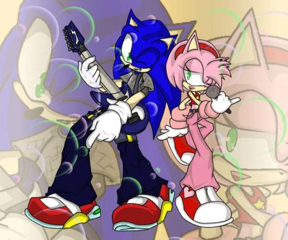 ROCK ON : Sonic and Amy by RX-BlackHowling
