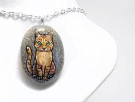 Orange Tabby Cat Pendant Necklace by sobeyondthis