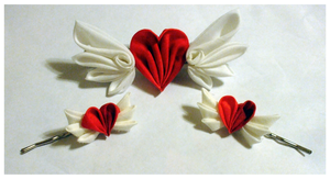 Valentine Hearts Kanzashi Set by EruwaedhielElleth