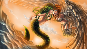 Mermaid and Harpy by DragTurtle