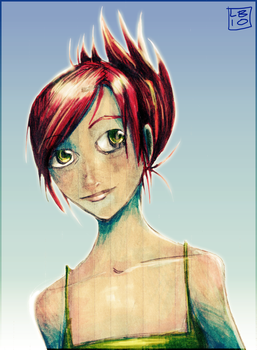 Red-Haired Girl in a Green Top by renegadesoldier