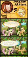 Applejack vs Woody by Neutronicsoup
