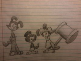 Animaniacs Yakko Wakko and Dot Lined Paper Sketch by paintshootingstar