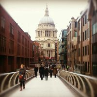 St Paul's Cathedral - from the Millenium Bridge by amyjls